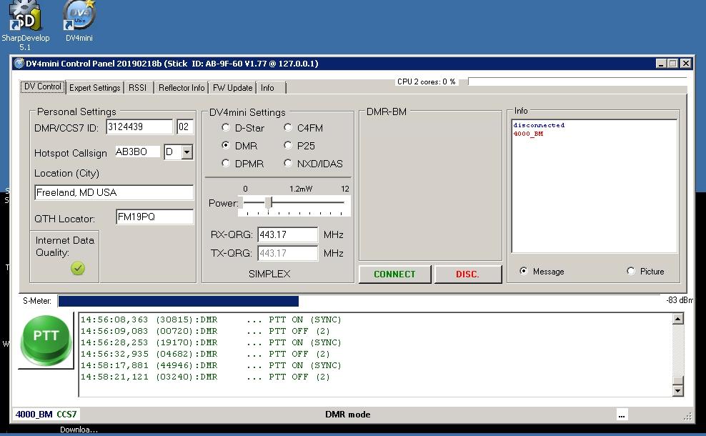 DV4MINI Hotspot - Example Settings using the MMDVM Software